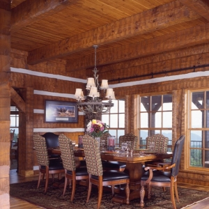 A Hearthstone Log Home with Heavy Timber Accents