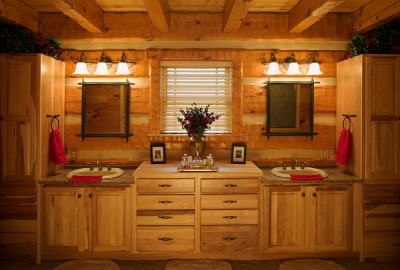 Master Bathroom in Log Home