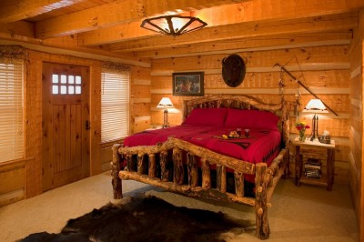 Log Home Master Bedroom