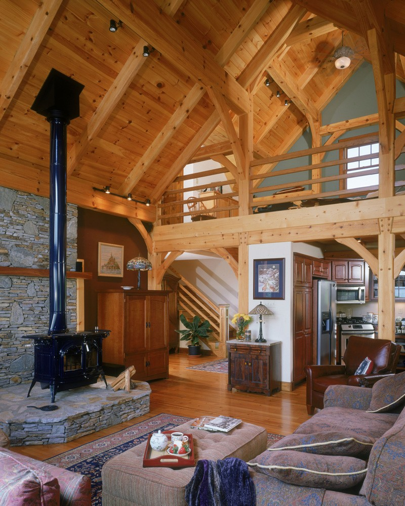 This hybrid Timber Frame Home in Black Mountain, NC blends into it's Black Mountain surroundings
