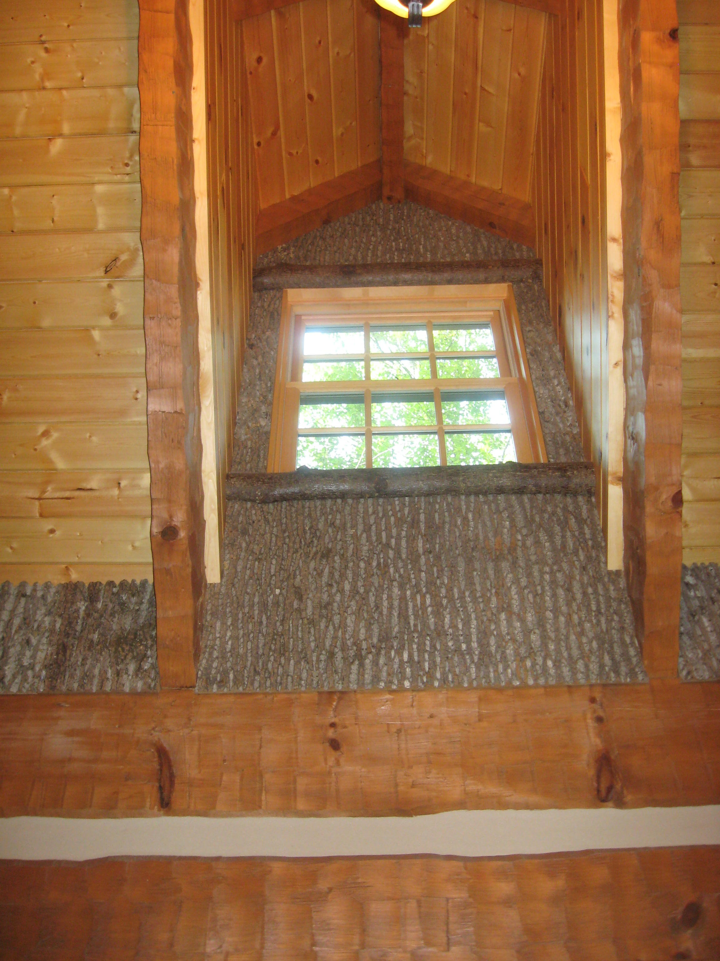 poplar bark interior design detail adds rustic accent to boone nc home