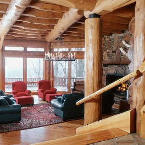 Mountain Construction built a large round log home near Blowing Rock, NC.