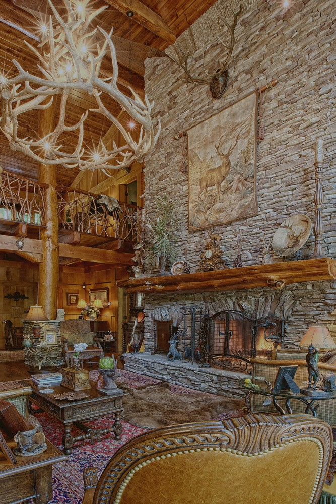Natural elements used in unique custom lodge
