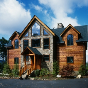 Banner Elk, North Carolina home is Timber Frame with log details