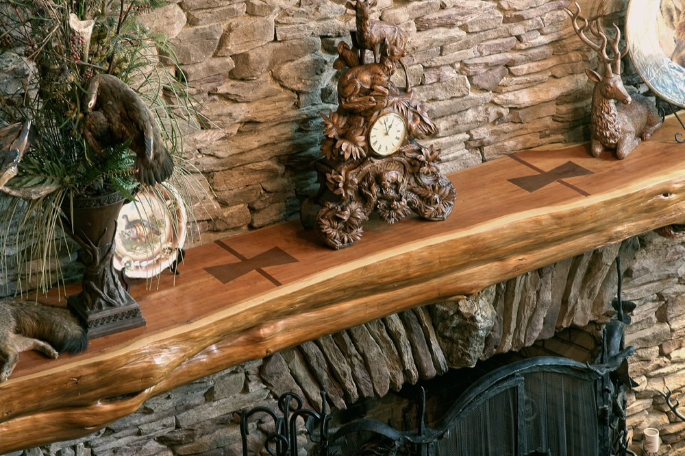 luxury home features hand crafted natural mantle