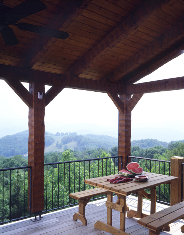 Outdoor space log timber frame hybrid lodge home, NC