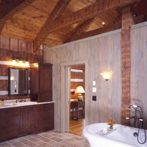 Bathroom in Timber Frame Log hybrid estate lodge
