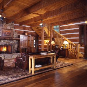 great room log timber frame hybrid home