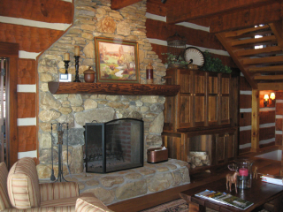 Fireplace log timber frame home nc
