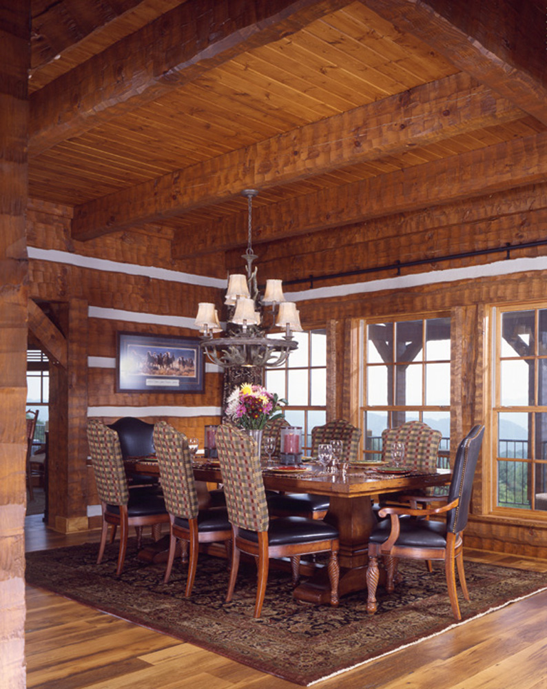 Dining Room Log Timber Frame Estate Home