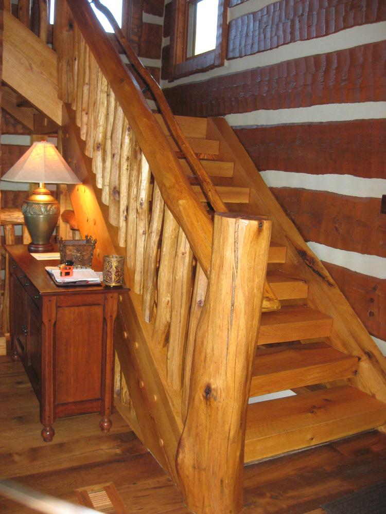 Stairs Log Timber Frame Hybrid Estate Lodge Home NC