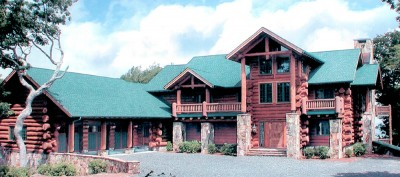 Family estate round log home