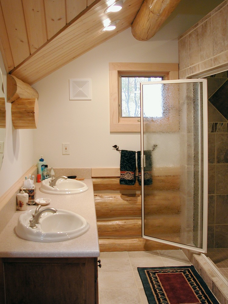 mountain construction creates elegant bathroom design in Ashe County, NC