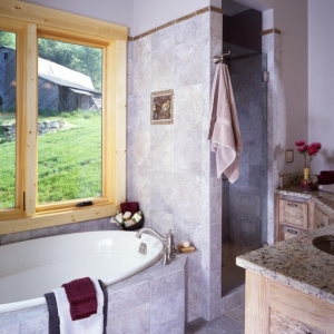custom home accents in bathroom design by Mountain Construction in Valle Crucis, NC