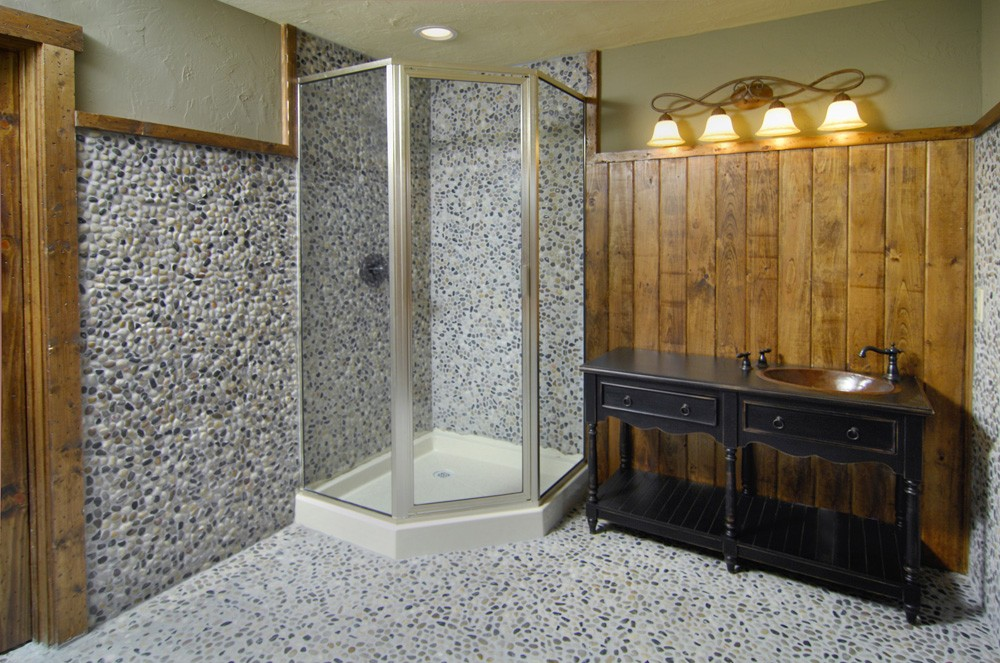 renovated bathroom with rustic accents