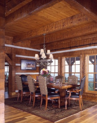 Log dining room offers long range views
