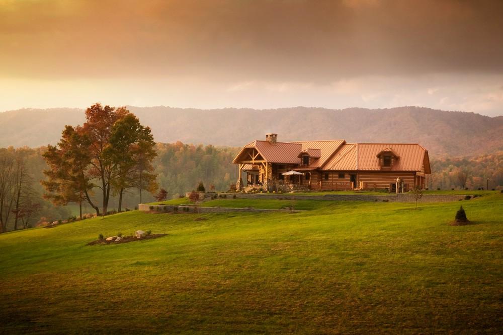Log cabin complements the landscape