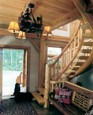 handcrafted half round log staircase