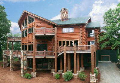 Custom home with massive round logs