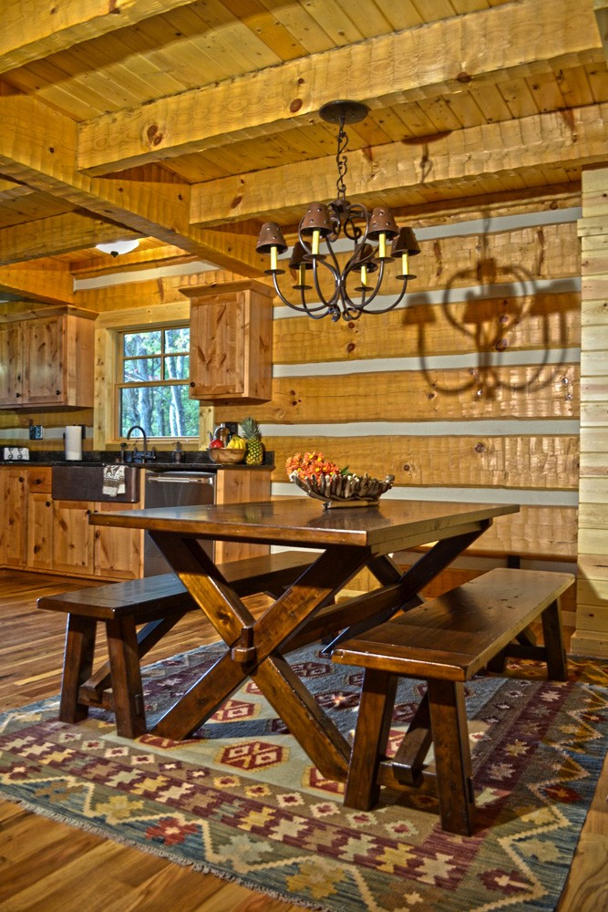 Mountain Construction builds a Hearthstone Timberwright Log Home adjoining the Pisgah Forest