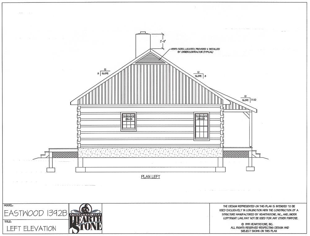 Log Home Floor Plan Left Elevation.