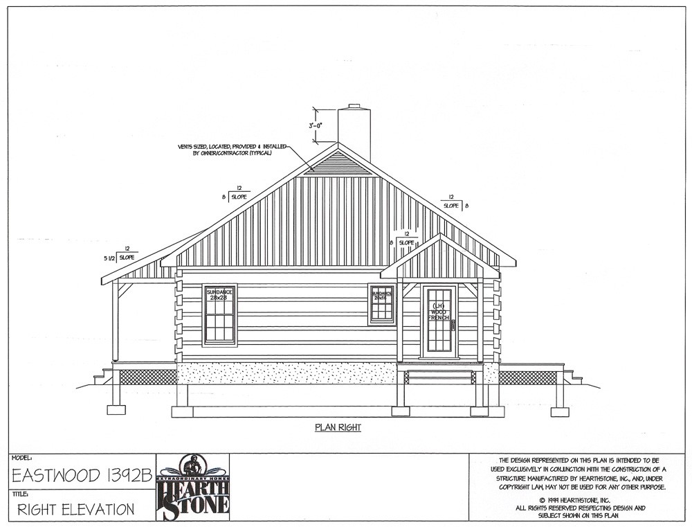 Log Home Design Elevation by Hearthstone Homes