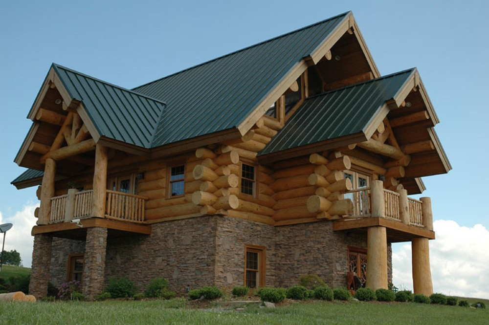 asheville round log home