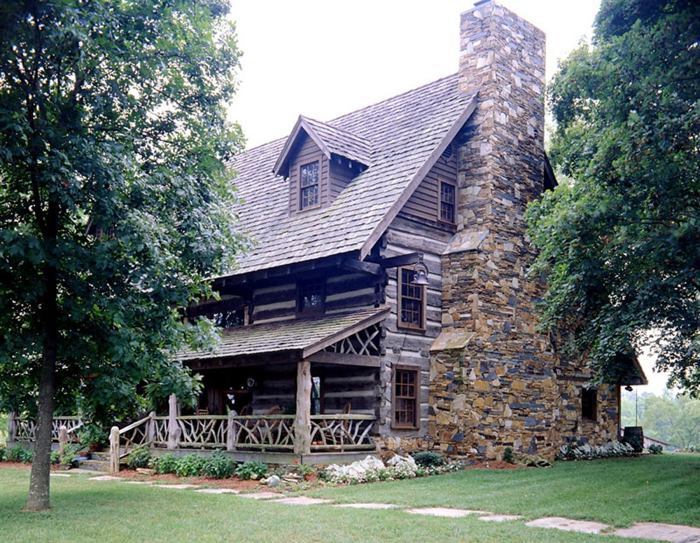 round log cabin asheville builder