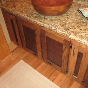 creative design details in vanity cabinet provide rustic accent in Boone NC