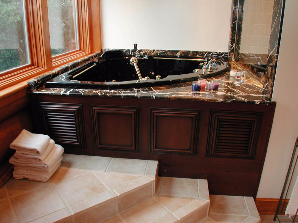 custom bath with granite and tile