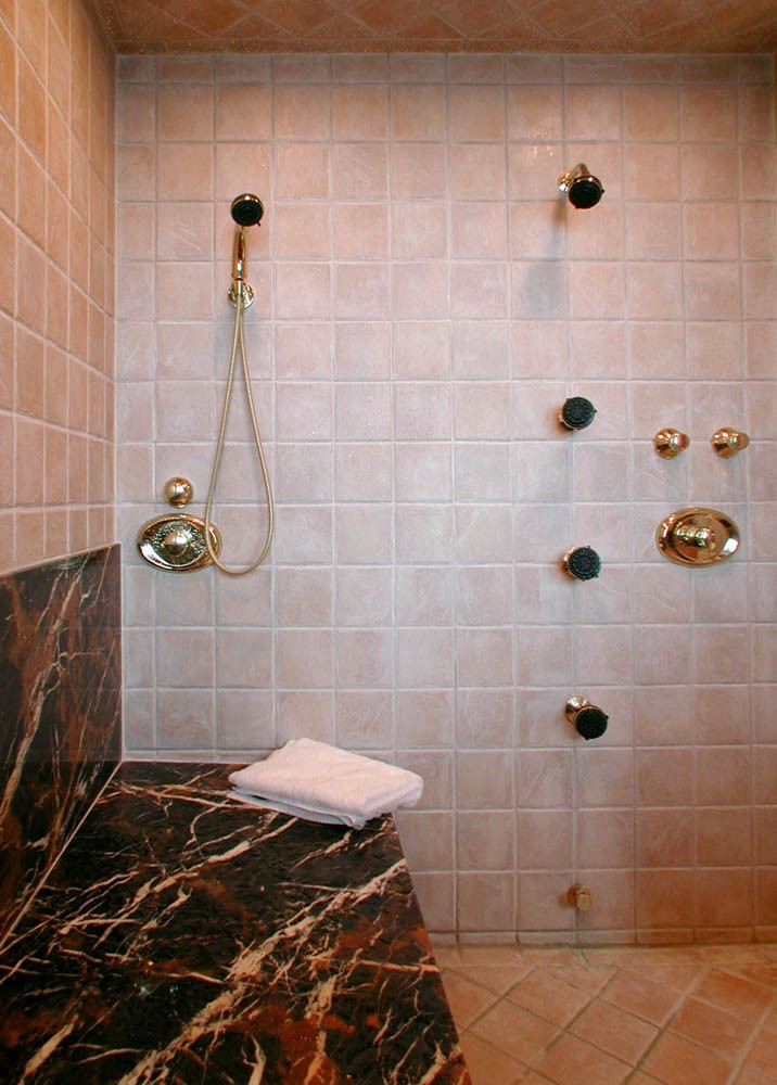 granite and tile shower