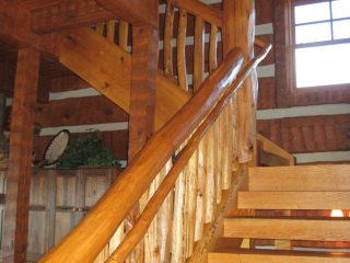 Stairway Log Timber Frame hybrid home in Bethel, NC