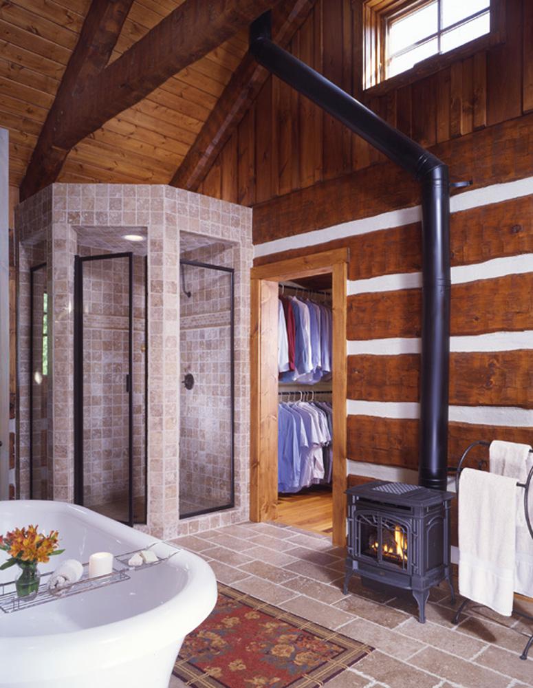 bathroom with wood stove