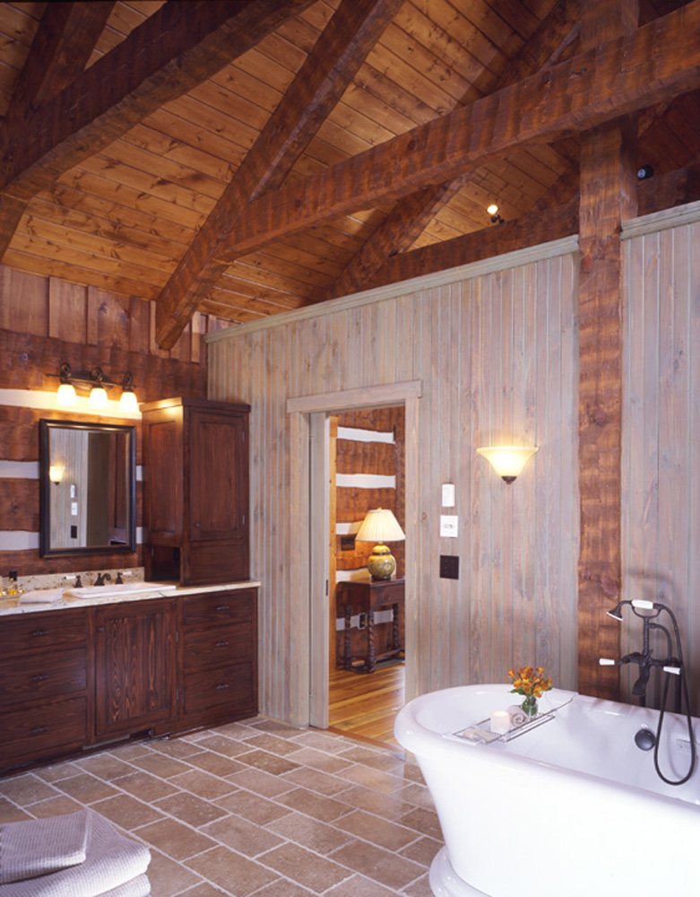 Bathroom in Timber Frame Log hybrid estate lodge