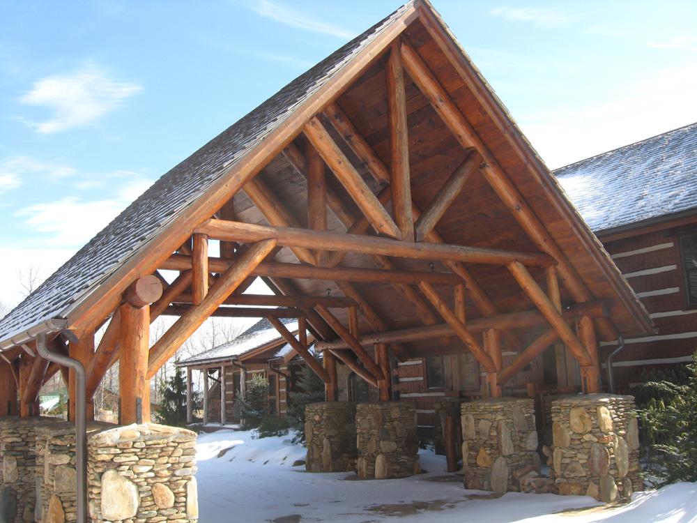 round log timber frame portico