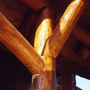 Round log joinery detail, luxury estate home