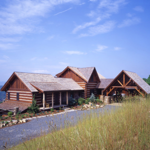 log timber frame hybrid home in Bethel, NC