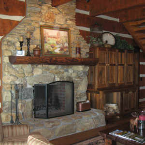Fireplace log timber frame home nc