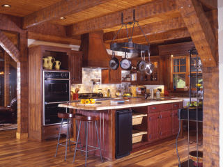 Kitchen Log Timber Frame Estate Home