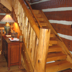 Stairs Log Timber Frame Hybrid Estate Lodge Home NC