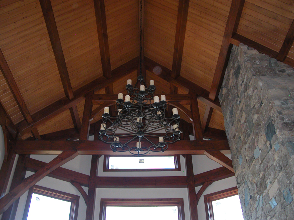 Tongue and Groove Ceiling complements Timber Frame Great Room