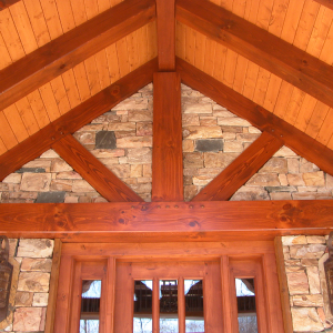 Timber Frame porch with natural stone